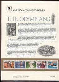 2496-2500 225c Olympians USPS Cat. 352 Commemorative Panel cp352
