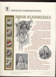 2501-5 25c Indian Headdresses USPS Cat. 353 Commemorative Panel cp353