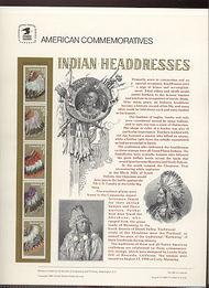 2501-5 25c Indian Headdresses USPS Cat. 353 Commemorative Panel cp353