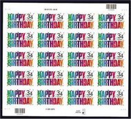 3558 34c Happy Birthday Full Sheet 3558sh