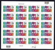 3558 34c Happy Birthday Full Sheet 3558sh