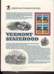 2533 29c Vermont Statehood USPS Cat. 360 Commemorative Panel cp360