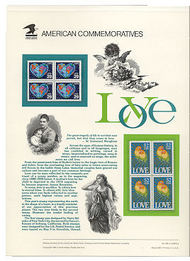 2535-6 29c & 52c Love Stamps USPS Cat.362 Commemorative Panel cp362