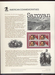 2538 29c William Saroyan USPS Cat. 363 Commemorative Panel cp363