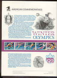 2611-5 29c Winter Olympics USPS Cat. 378 Commemorative Panel cp378