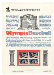 2619 9c Olympic Baseball USPS Cat.382 Commemorative Panel cp382