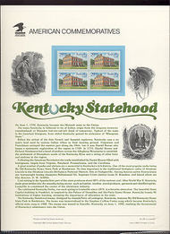 2636 29c Kentucky Statehood USPS Cat. 387 Commemorative Panel cp387