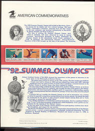 2637-41 29c Summer Olympics USPS Cat. 388 Commemorative Panel cp388
