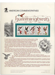 2642-6 29c Hummingbirds USPS Cat. 389 Commemorative Panel cp389
