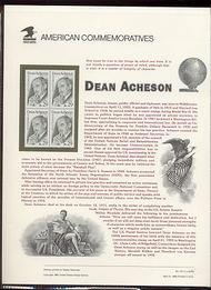 2755 29c Dean Acheson USPS Cat. 415 Commemorative Panel cp415