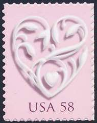 4152 58c Silver Heart Used Single 4152used