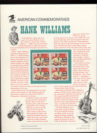 2723 29c Hank Williams USPS Cat. 419 Commemorative Panel cp419