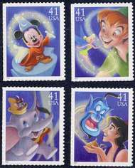 4192-95 41c Disney F-VF Mint NH 4192-5nh