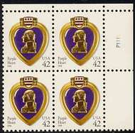 4263 42c Purple Heart WA Plate Block 4263pb