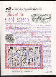2819-28 29c Silent Screen Stars USPS Cat.437 Commemorative Panel cp437