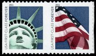 4518-9 Forever Liberty & Flag Stamps, Pair from ATM Pane 4518-9pr
