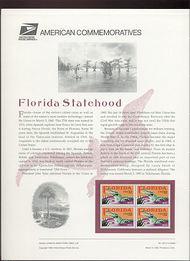 2950 32c Florida Statehood USPS Cat. 453 Commemorative Panel cp453