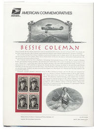 2956 32c Bessie Coleman USPS Ca.454 Commemorative Panel cp454