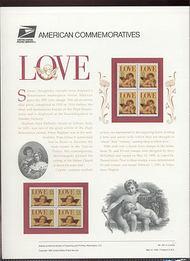 2957-58 32c & 55c Love - Angels USPS Cat. 457 Commemorative Panel cp457