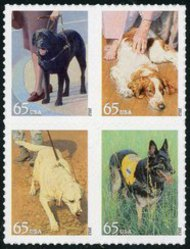 4604-7 65c Working Dogs F-VF Mint NH Block of 4 4604-7blk