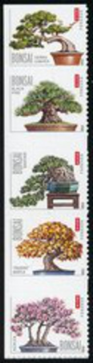 4618-22 (45c) Bonsai Trees Vertical Strip of 5 Mint NH 4518-22strip