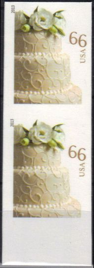 4735i 66c Wedding Cake Vertical Imperf Pair 4735ivp