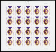 4704i Forever Purple Heart Imperf No Die Cuts Sheet of 20 4704ish