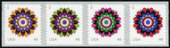 4722-25 Forever Kaleidoscope Flowers Mint NH Coil Strip of 4 4722-5