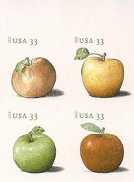 4727-30i 33c Apples Imperf Plate Block of 4 4730ipb