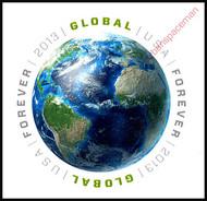 4740i ($1.10) Forever Globe Vertical Imperf Pair 4740ivp