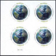 4740i Global Forever Forever Globe Imperf Plate Block of 4 4740ipb