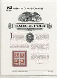 2587 32c James Polk USPS Cat. 475 Commemorative Panel cp475