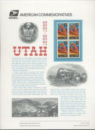 3024 32c Utah Statehood USPS Cat. 477 Commemorative Panel cp477