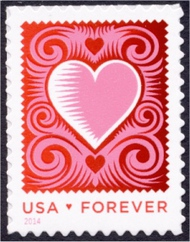 4847 Forever Love, Cut Paper Heart Mint NH Single 4847nh