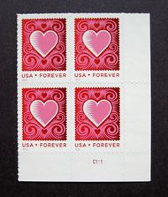 4847 Forever Love, Cut Paper Heart Plate Block of 4 4847pb