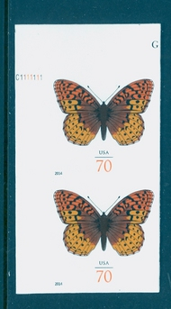 4859i 70c Fritillary Butterfly Mint NH Vertical Imperf Pair 4859ivp