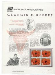 3069 32c Georgia O'Keefe USPS Cat. 486 Commemorative Panel cp486