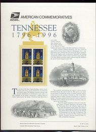 3070 32c Tennessee Statehood USPS 487 Commemorative Panel cp487