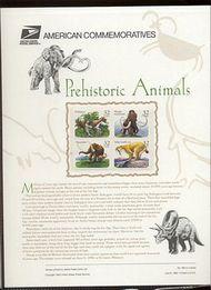 3077-80 32c Prehistoric Animals USPS  489 Commemorative Panel cp489