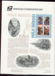 3083-86 32c Folk Heroes USPS Cat. 492 Commemorative Panel cp492