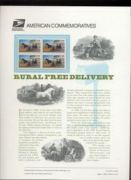 3090 32c Rural Free Delivery USPS Cat. 495 Commemorative Panel cp495