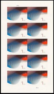 4953i $1 Patriotic Wave Mint Imperf Sheet of 10 4953ish