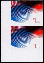 4953i $1 Patriotic Wave Mint Imperf Vertical Pair 4953ivp