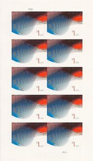4953 $1 Patriotic Wave Mint Sheet of 10 4953sh