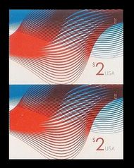 4954i $2 Patriotic Wave Imperf Vertical Pair 4954ivp