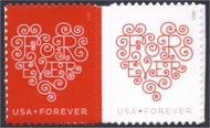 4955-56 Forever Hearts Mint Attached Pair 4955-6pr