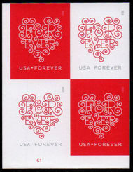 4955-56i Forever Hearts Imperf Mint Plate Block of 4 4955-6ipb