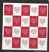 4955-56 Forever Hearts Mint Sheet of 20 4955-6sh
