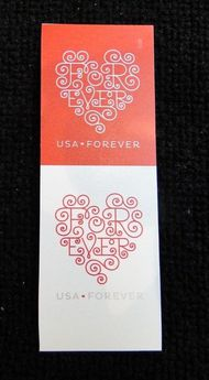 4955-56i Forever Hearts Mint Imperf Vertical Pair 4955-6ivp