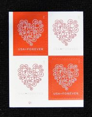 4955-56 Forever Hearts Mint Plate Block of 4 4955-6pb